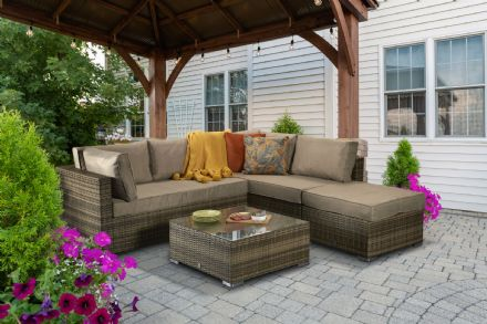Savannah Corner Sofa Brown / Nature Weave